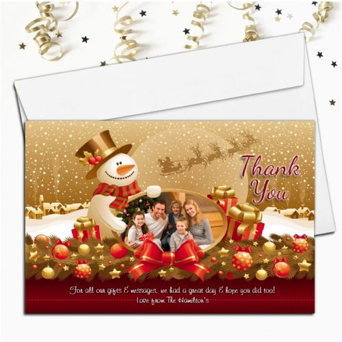 10 Personalised Christmas Xmas Thank you PHOTO Cards N27